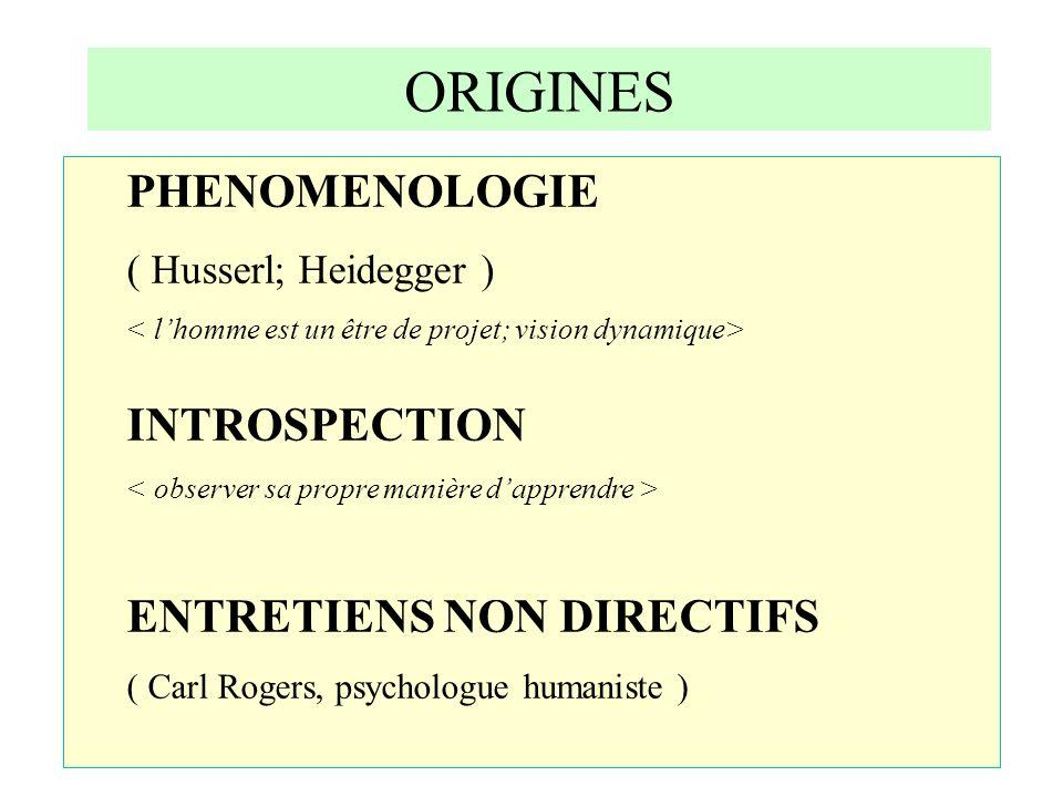 ORIGINES PHENOMENOLOGIE INTROSPECTION ENTRETIENS NON DIRECTIFS