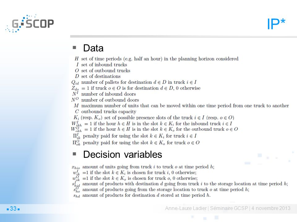 IP* Data Decision variables