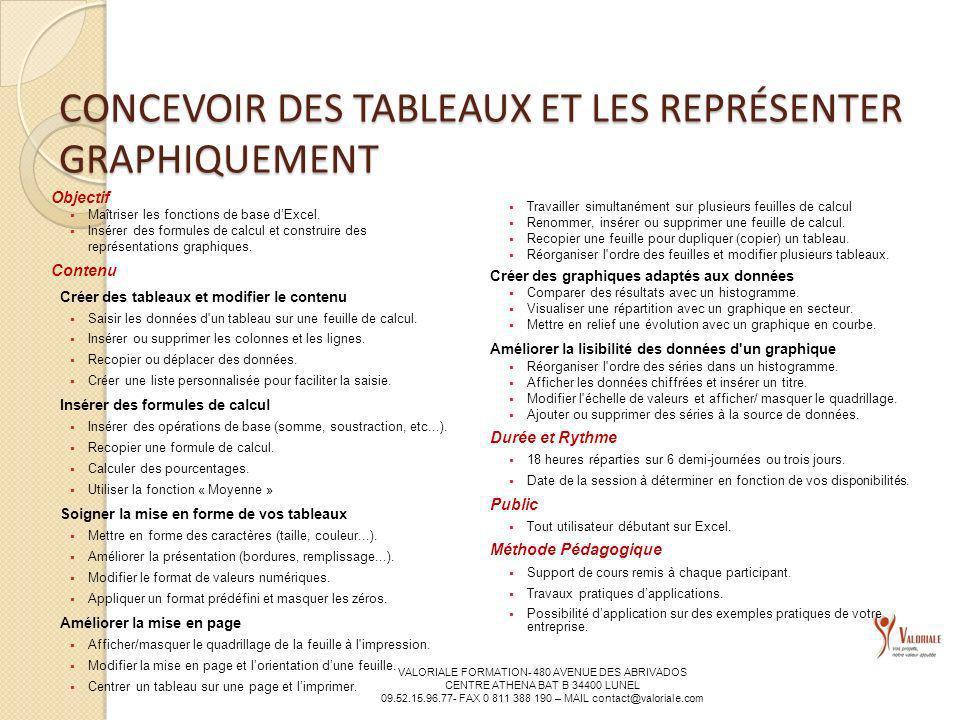 CONCEVOIR DES TABLEAUX ET LES REPRÉSENTER GRAPHIQUEMENT