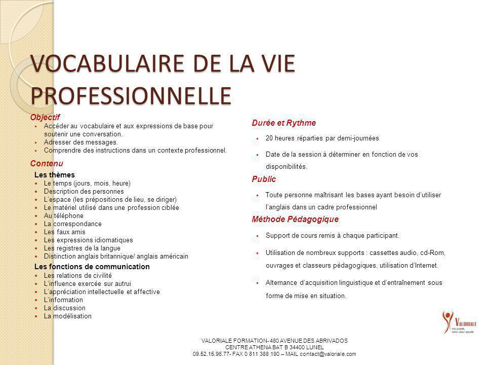 VOCABULAIRE DE LA VIE PROFESSIONNELLE