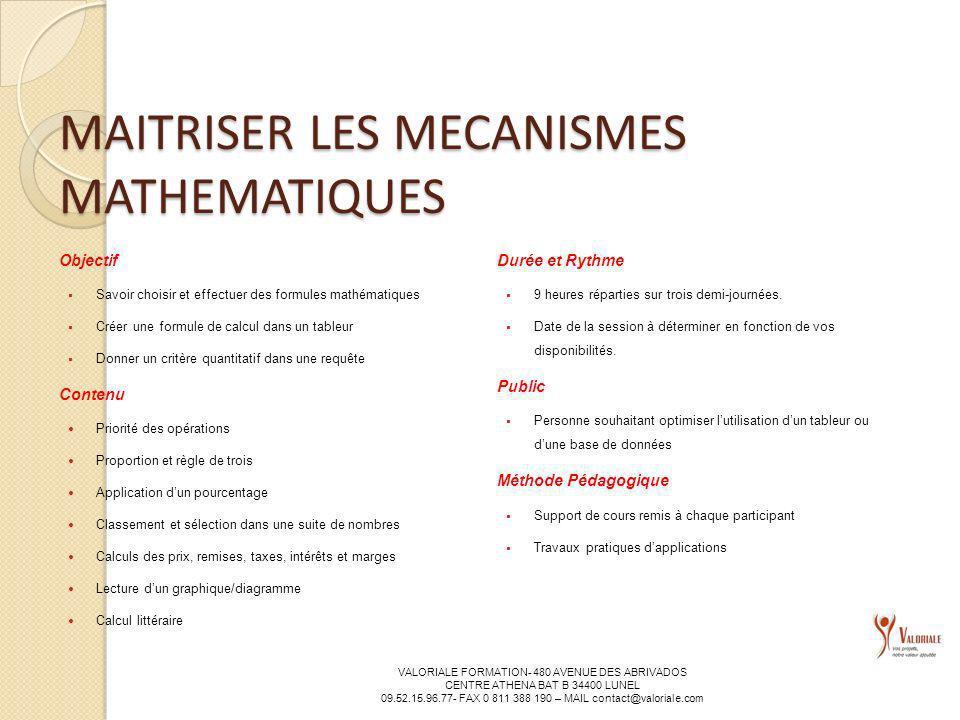 MAITRISER LES MECANISMES MATHEMATIQUES