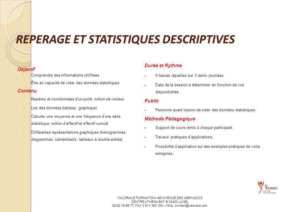 REPERAGE ET STATISTIQUES DESCRIPTIVES