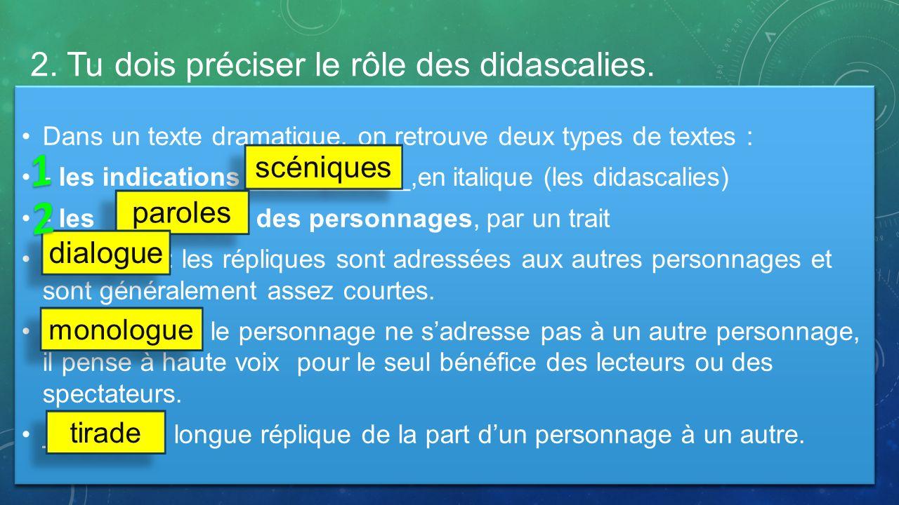 2. Tu dois préciser le rôle des didascalies.
