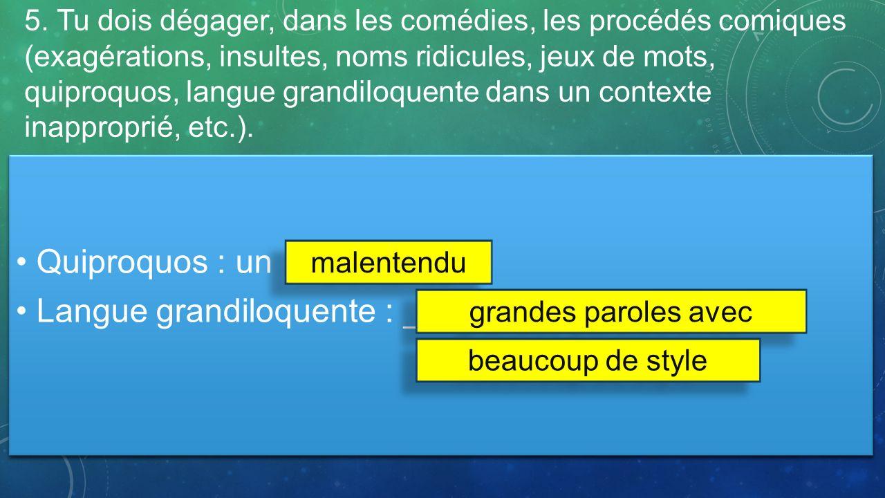 Langue grandiloquente : _____________________