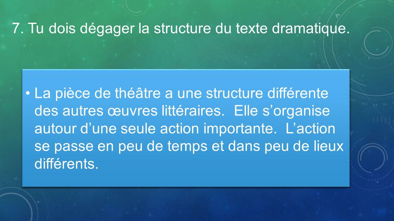 7. Tu dois dégager la structure du texte dramatique.