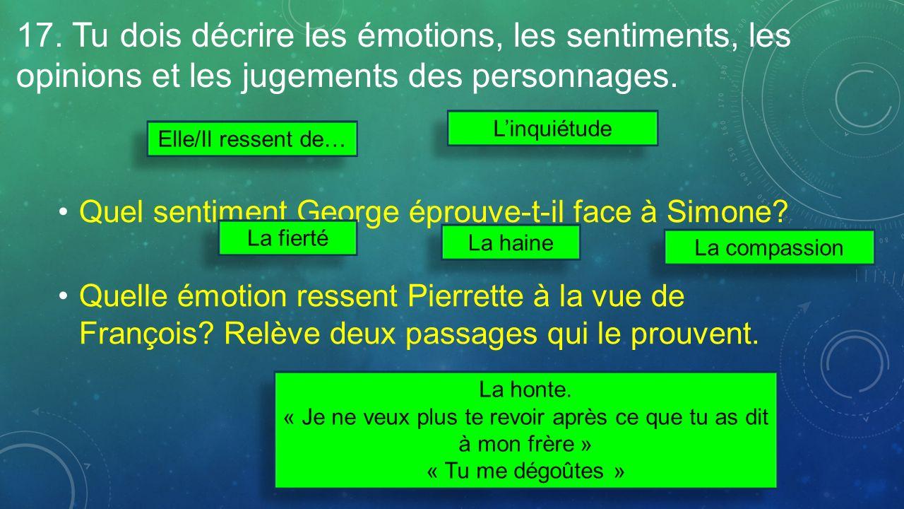 17. Tu dois décrire les émotions, les sentiments, les opinions et les jugements des personnages.