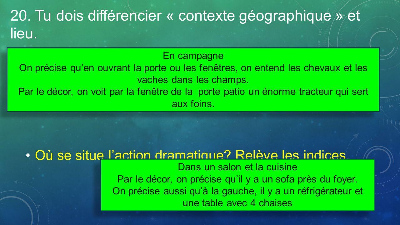 20. Tu dois différencier « contexte géographique » et lieu.