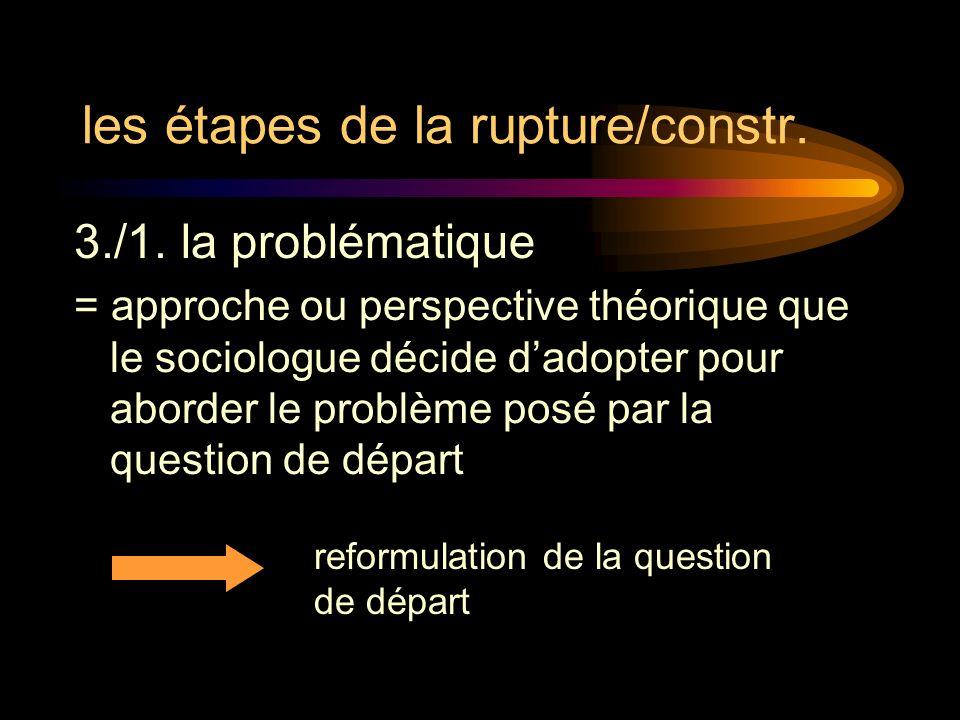 les étapes de la rupture/constr.