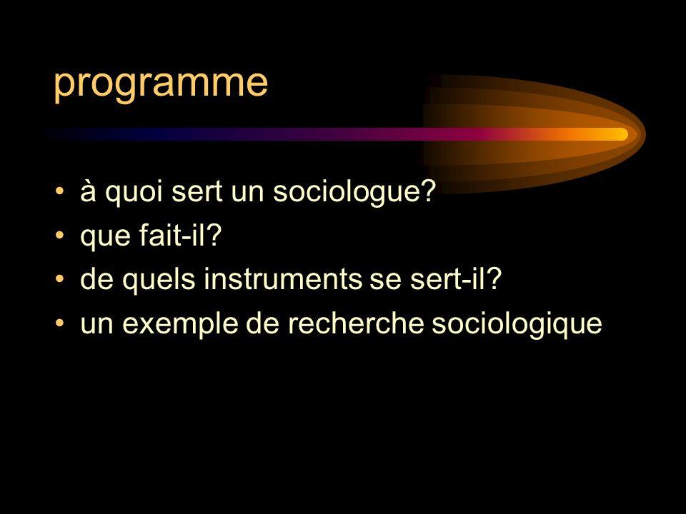 programme à quoi sert un sociologue que fait-il