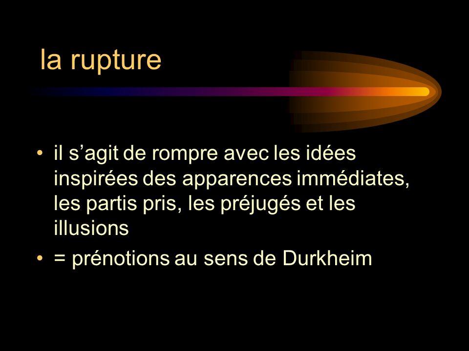 la rupture il s'agit de rompre avec les idées inspirées des apparences immédiates, les partis pris, les préjugés et les illusions.