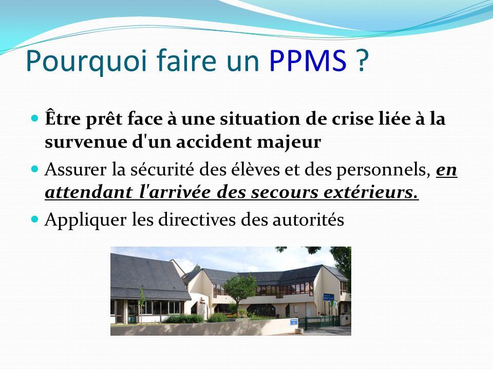 Pourquoi faire un PPMS Être prêt face à une situation de crise liée à la survenue d un accident majeur.