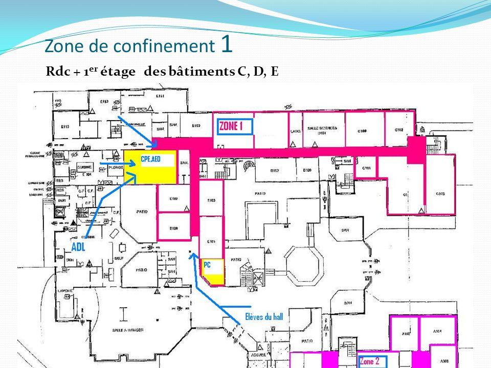 Zone de confinement 1 Rdc + 1er étage des bâtiments C, D, E