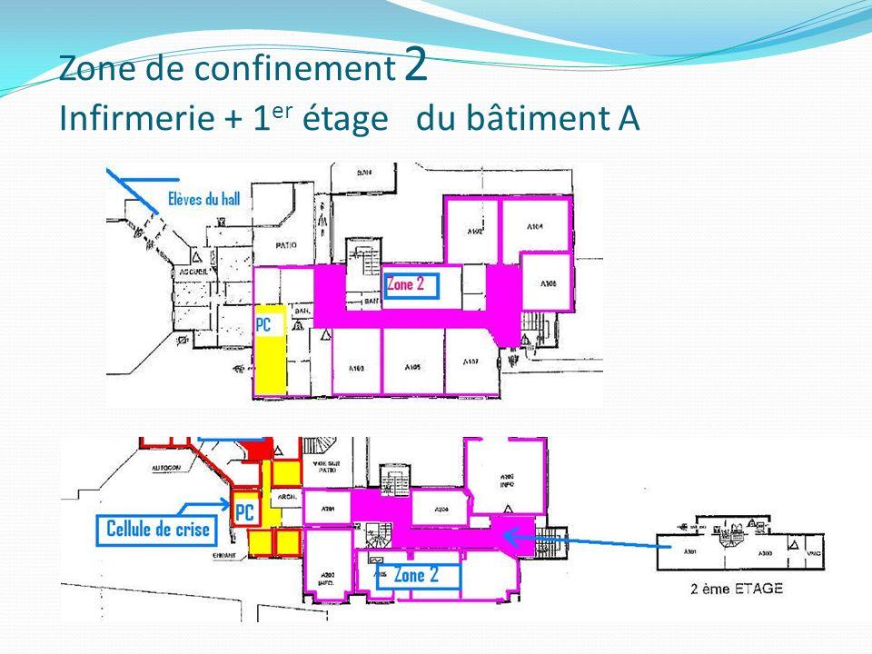 Zone de confinement 2 Infirmerie + 1er étage du bâtiment A
