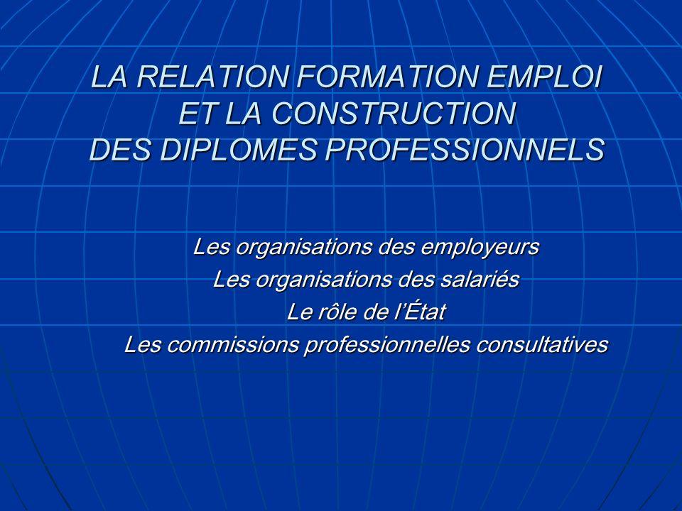 LA RELATION FORMATION EMPLOI ET LA CONSTRUCTION DES DIPLOMES PROFESSIONNELS