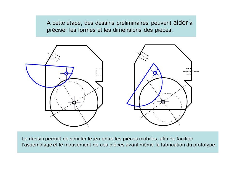 À cette étape, des dessins préliminaires peuvent aider à préciser les formes et les dimensions des pièces.