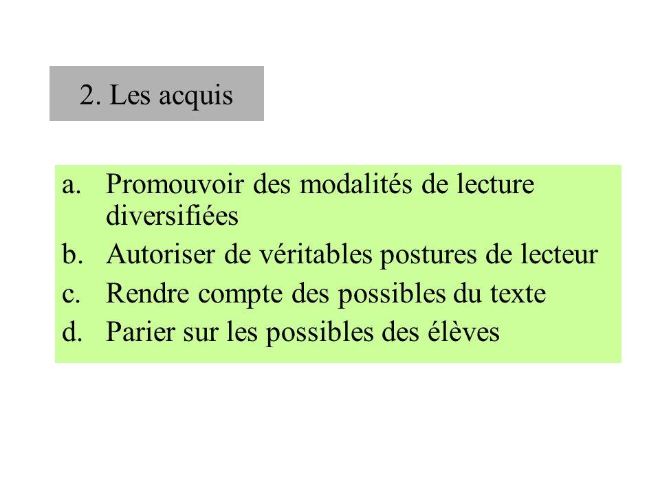 2. Les acquis Promouvoir des modalités de lecture diversifiées. Autoriser de véritables postures de lecteur.
