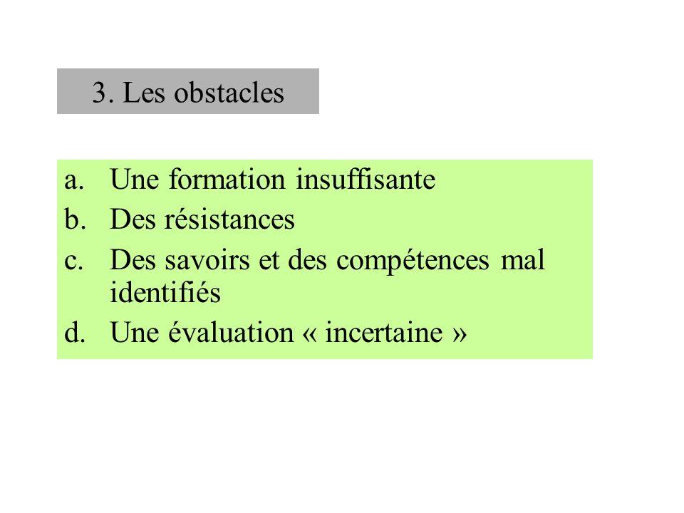 3. Les obstacles Une formation insuffisante. Des résistances. Des savoirs et des compétences mal identifiés.