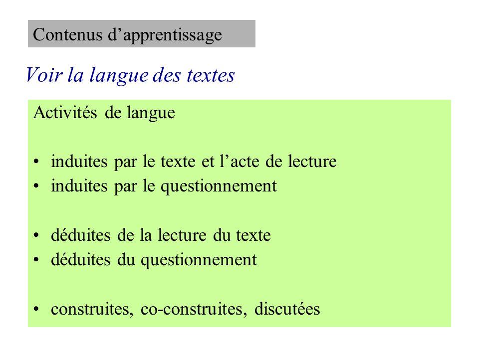 Voir la langue des textes