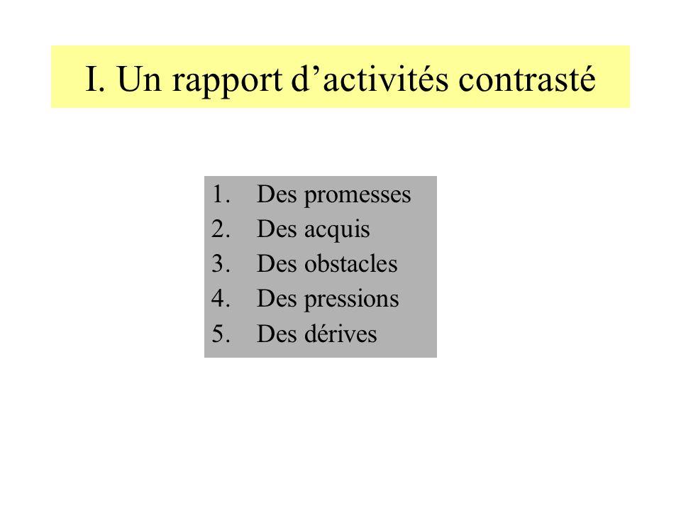I. Un rapport d'activités contrasté