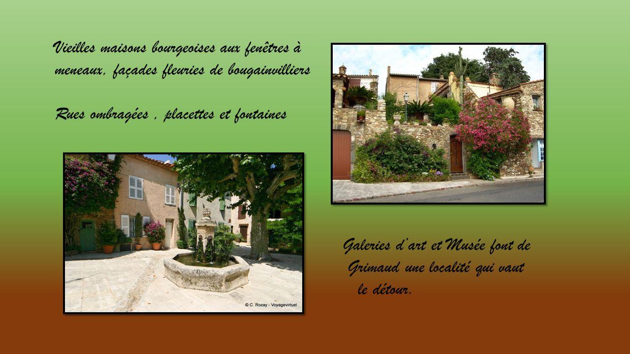 Vieilles maisons bourgeoises aux fenêtres à meneaux, façades fleuries de bougainvilliers