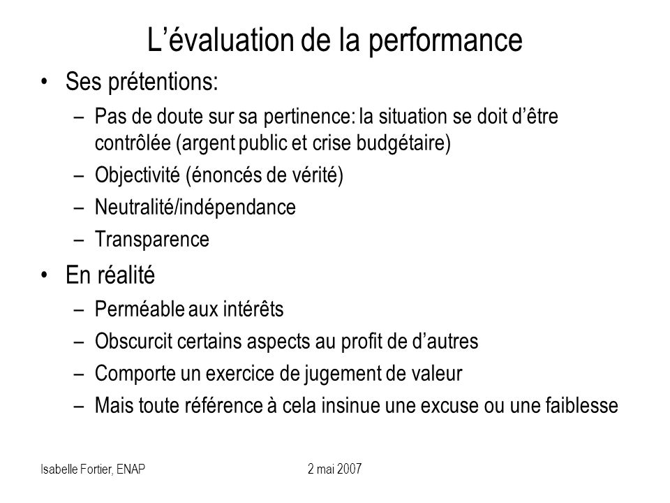 L'évaluation de la performance