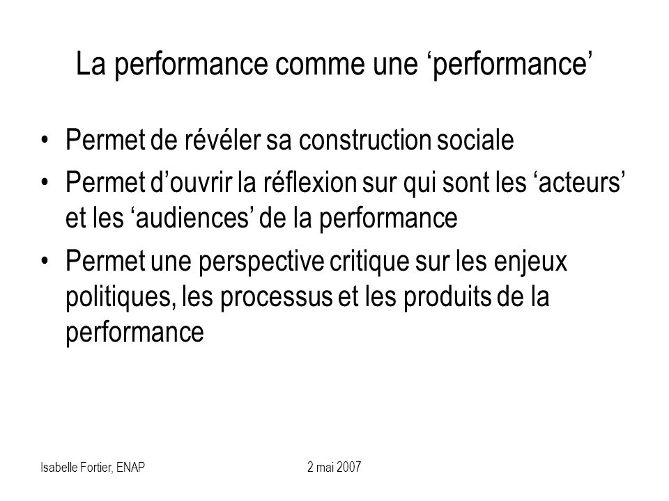 La performance comme une 'performance'