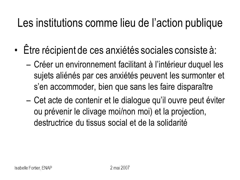 Les institutions comme lieu de l'action publique