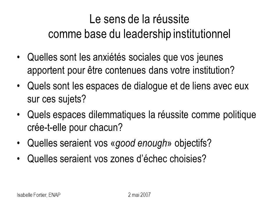 Le sens de la réussite comme base du leadership institutionnel