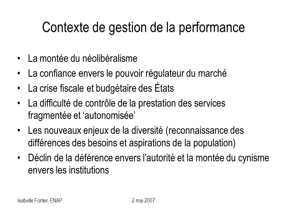 Contexte de gestion de la performance