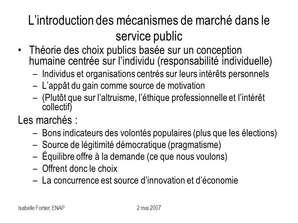 L'introduction des mécanismes de marché dans le service public