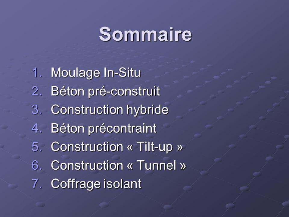 Sommaire Moulage In-Situ Béton pré-construit Construction hybride