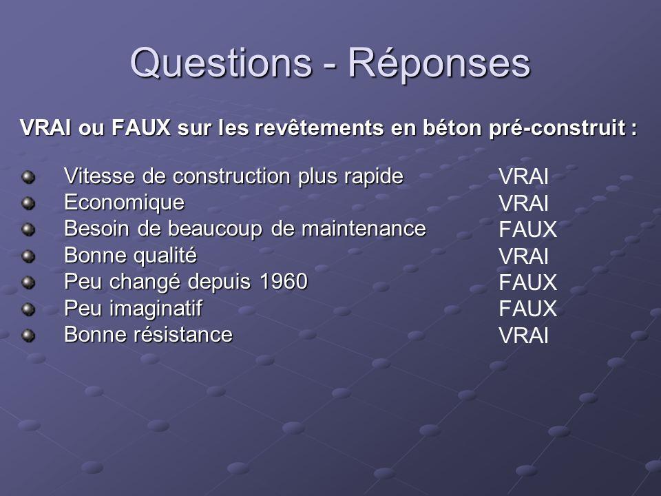 Questions - Réponses VRAI ou FAUX sur les revêtements en béton pré-construit : Vitesse de construction plus rapide.