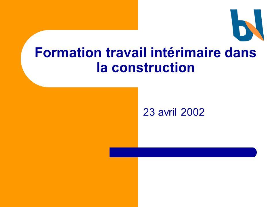 Formation travail intérimaire dans la construction