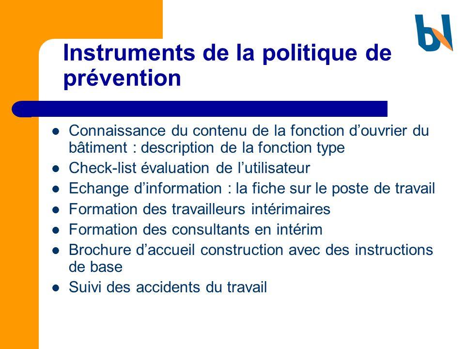 Instruments de la politique de prévention