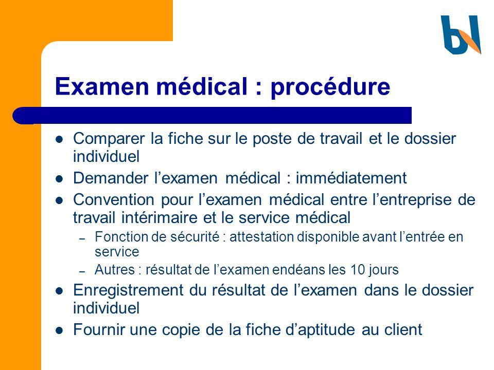 Examen médical : procédure