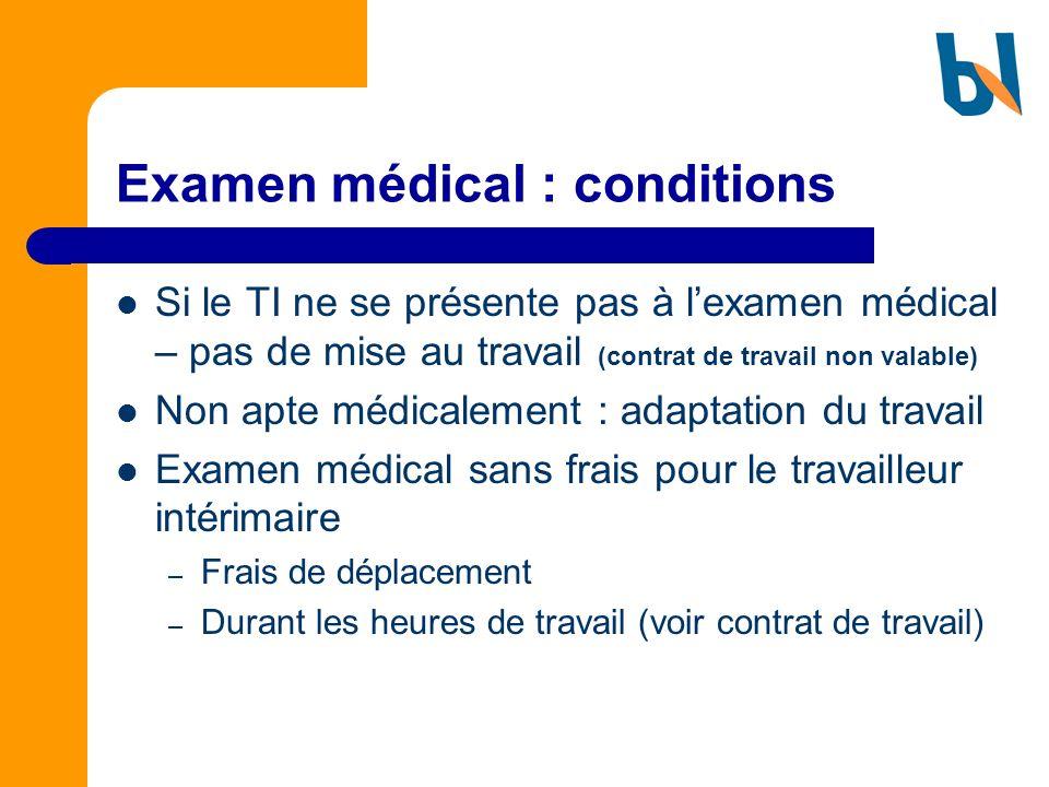 Examen médical : conditions