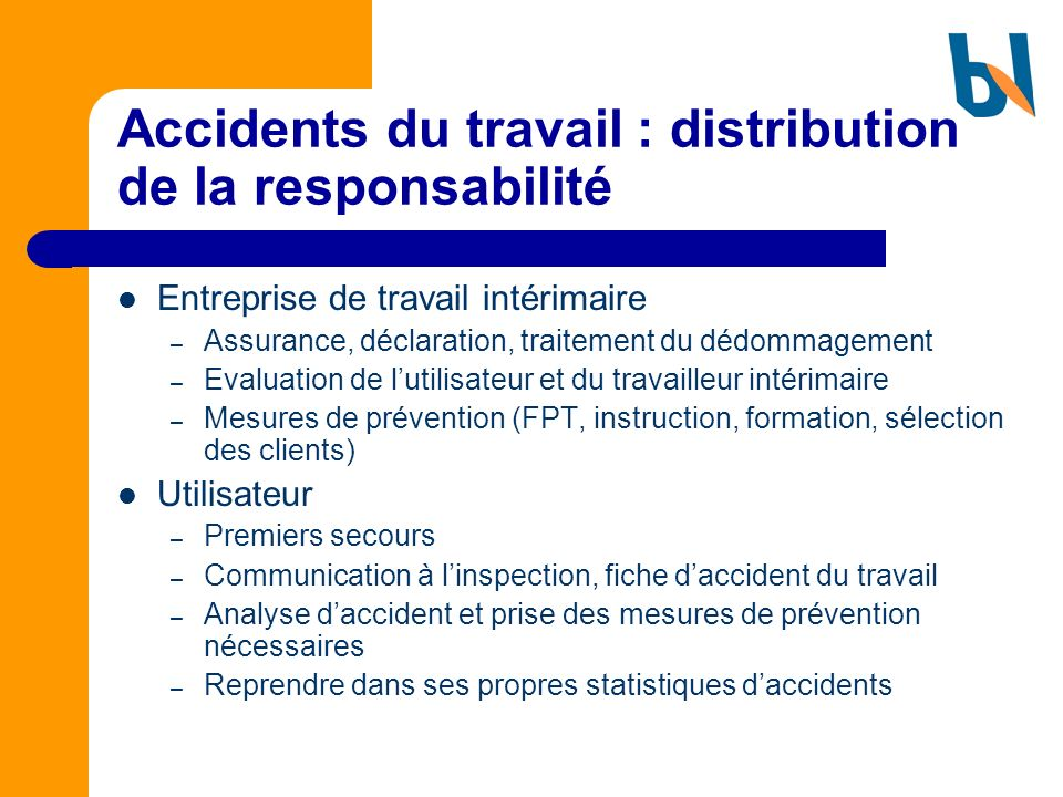 Accidents du travail : distribution de la responsabilité
