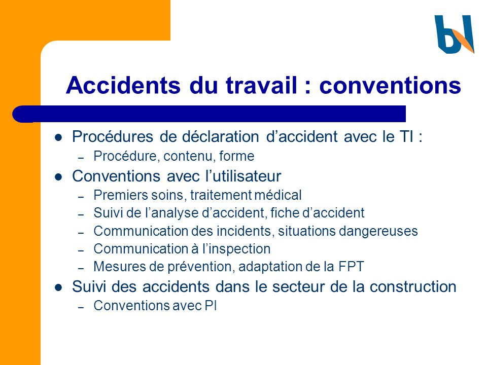 Accidents du travail : conventions