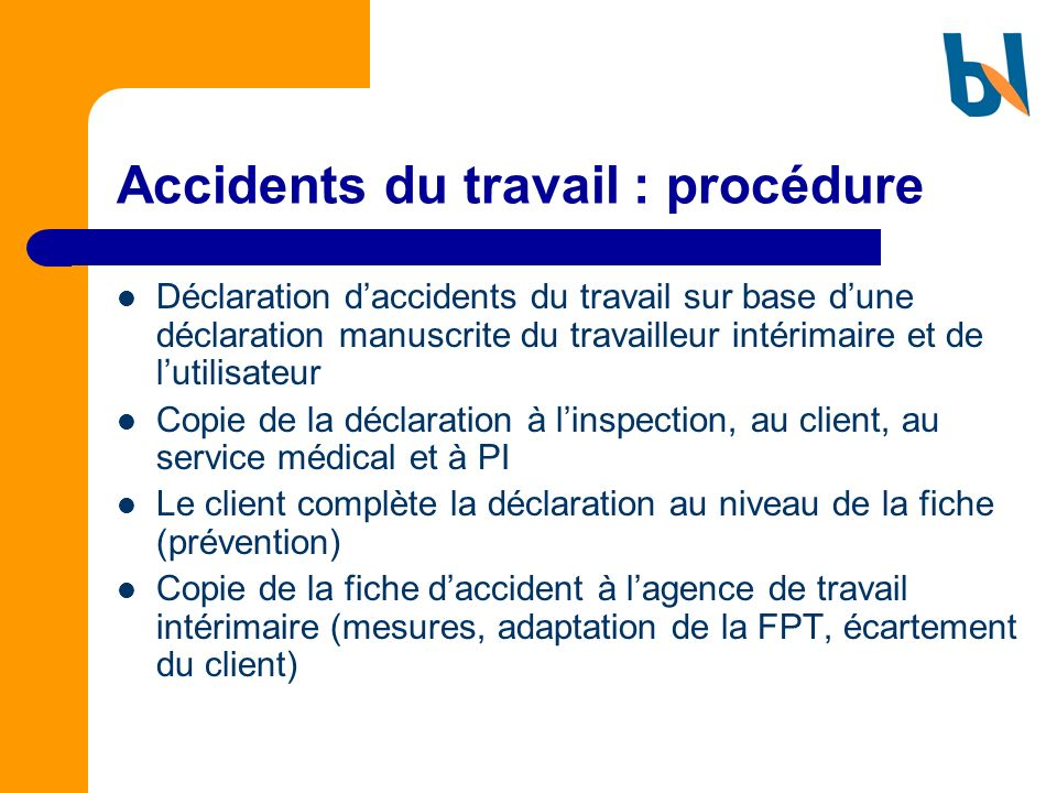 Accidents du travail : procédure
