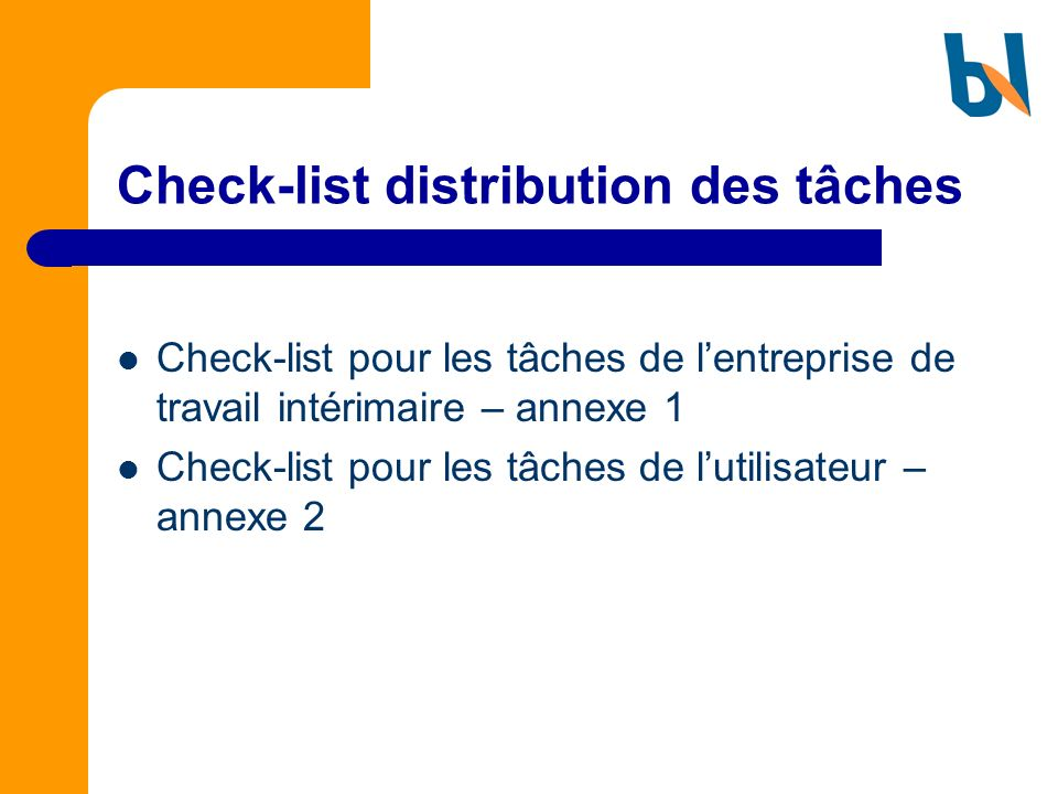 Check-list distribution des tâches