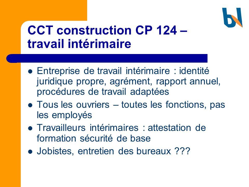 CCT construction CP 124 – travail intérimaire