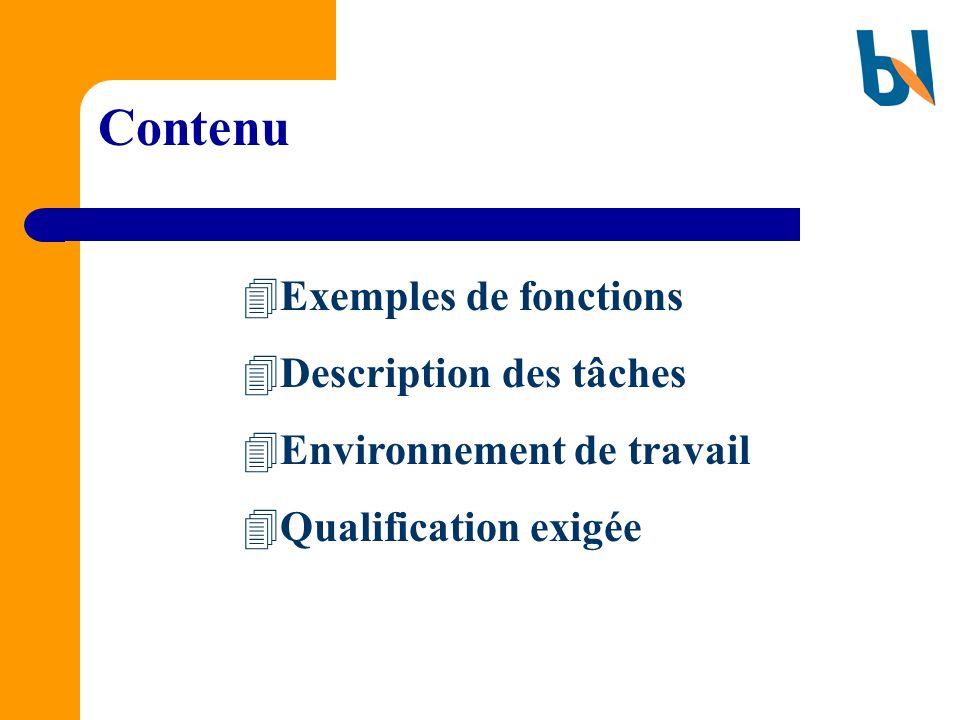 Contenu Exemples de fonctions Description des tâches
