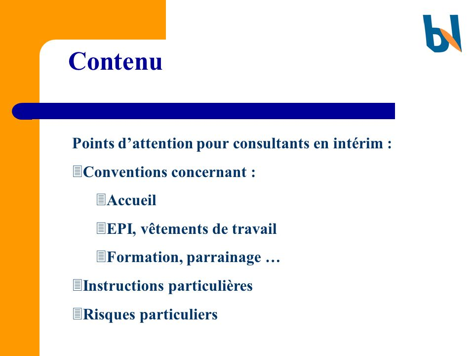 Contenu Points d'attention pour consultants en intérim :
