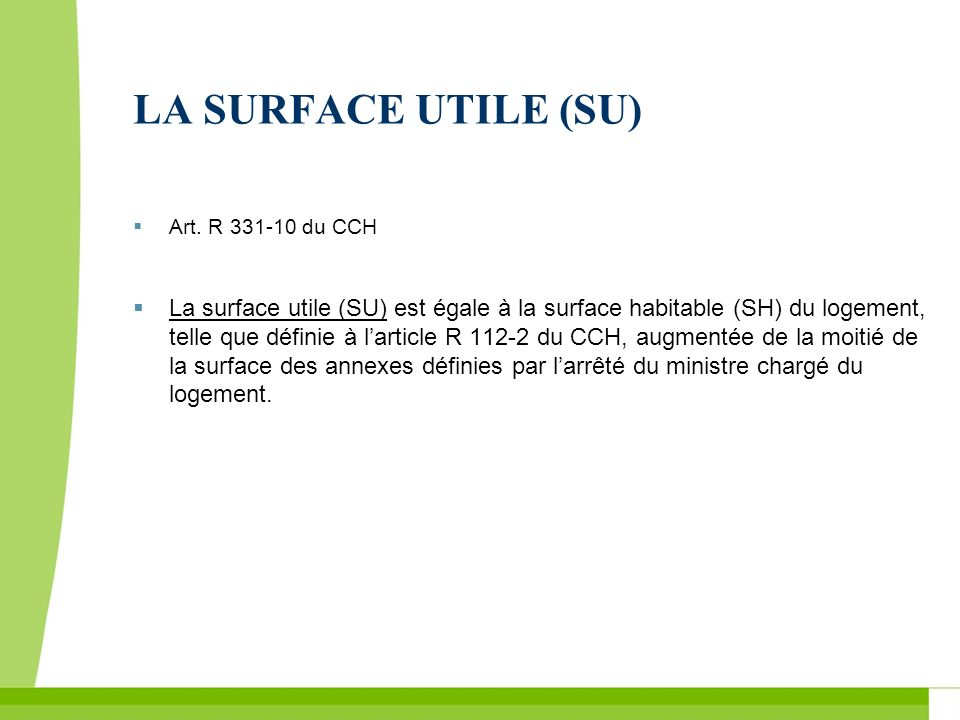 LA SURFACE UTILE (SU) Art. R du CCH.