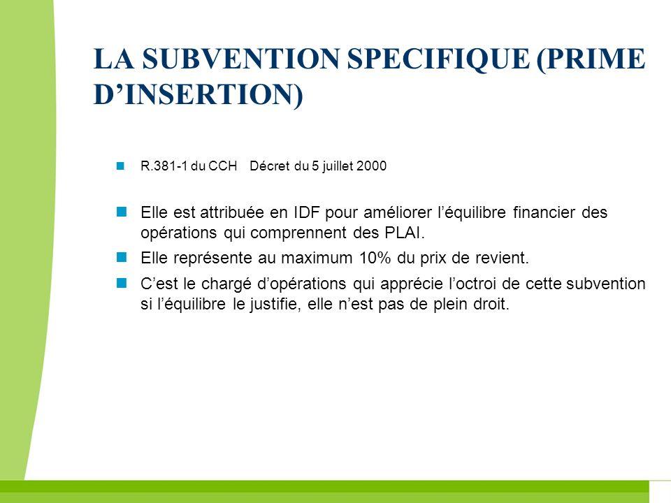 LA SUBVENTION SPECIFIQUE (PRIME D'INSERTION)