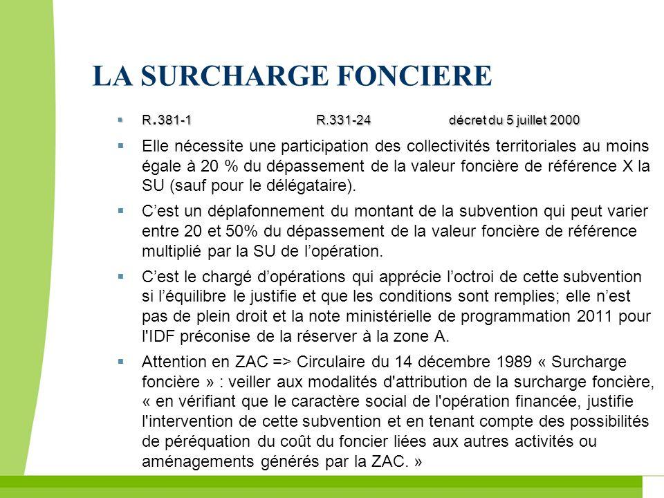 LA SURCHARGE FONCIERE R.381-1 R.331-24 décret du 5 juillet 2000.