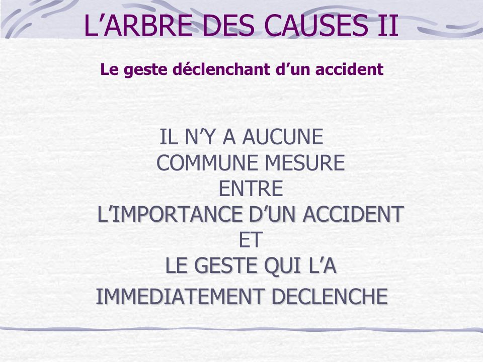 Le geste déclenchant d'un accident