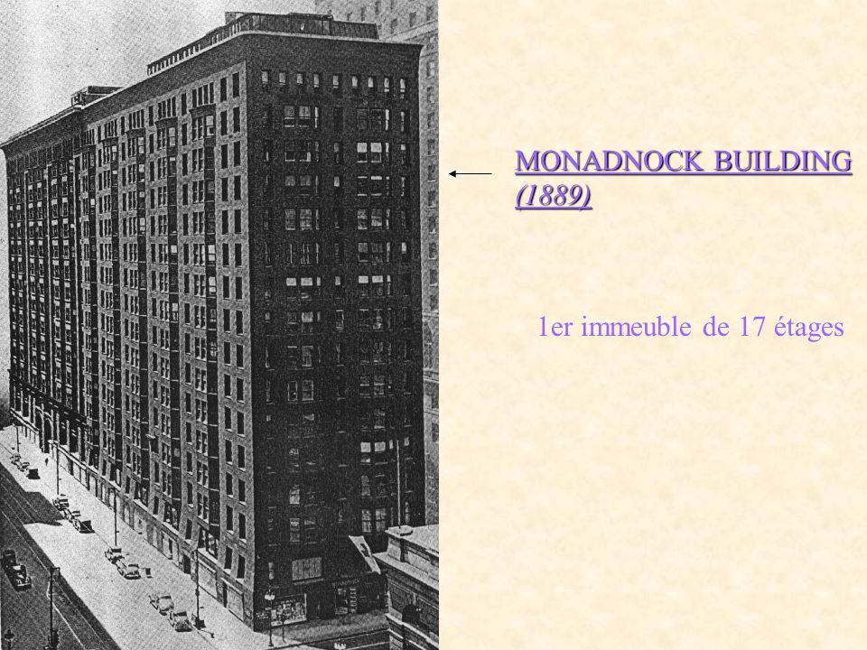 MONADNOCK BUILDING (1889) 1er immeuble de 17 étages