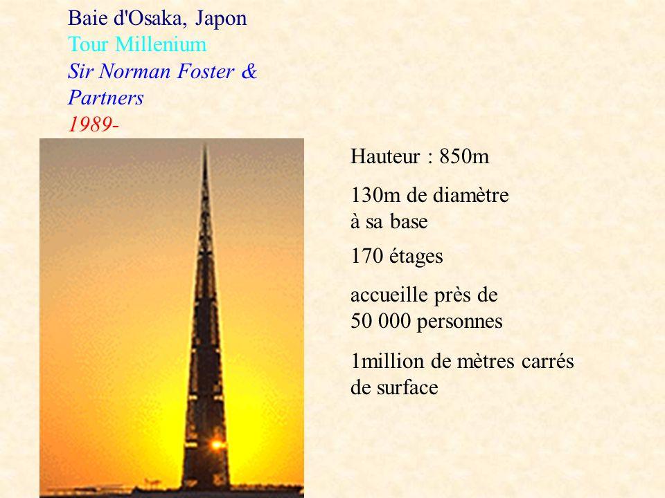 Baie d Osaka, Japon Tour Millenium. Sir Norman Foster & Partners. 1989- Hauteur : 850m. 130m de diamètre à sa base.