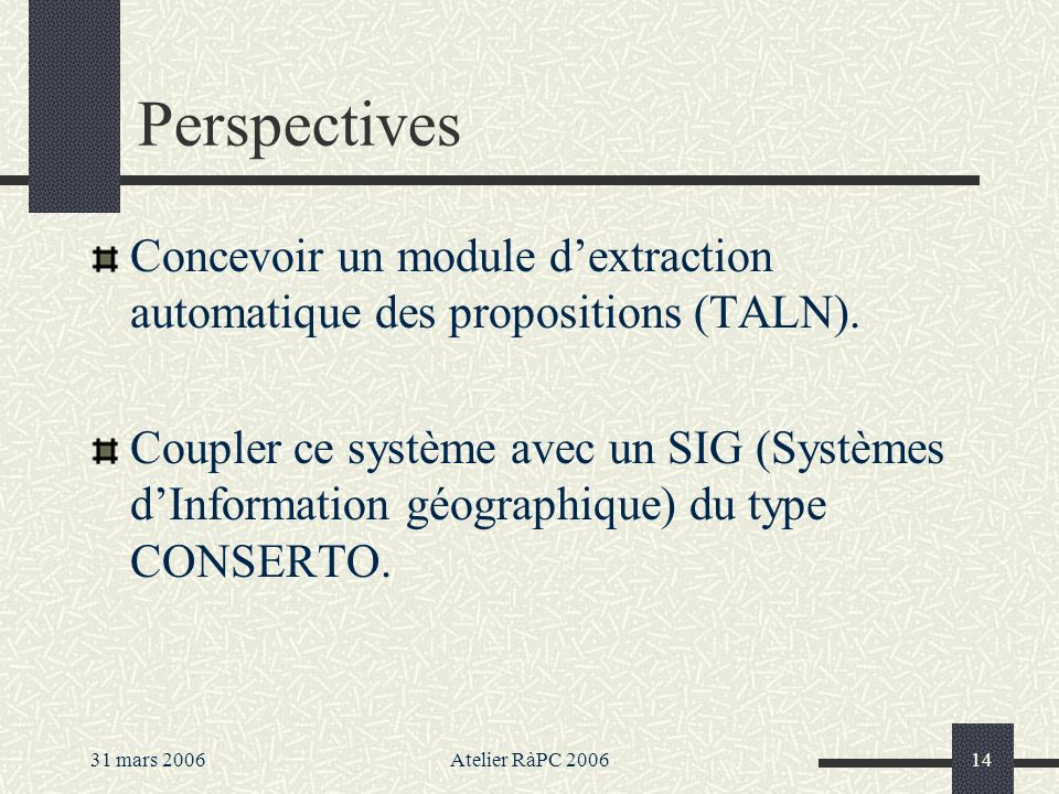 Perspectives Concevoir un module d'extraction automatique des propositions (TALN).